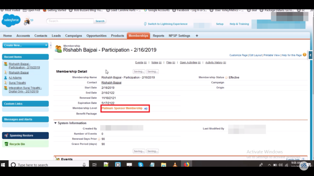 Screenshot of salesforce integration